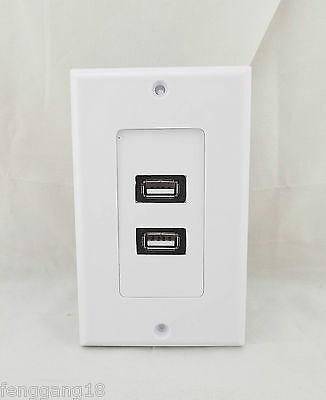1x Premium Dual 2 Port USB 2.0 Wall Face Plate Panel Socket Charger Outlet Power