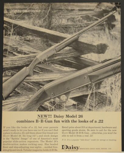 1966 Daisy BB Gun Print Ad 42 Inch Model 26 Double Action