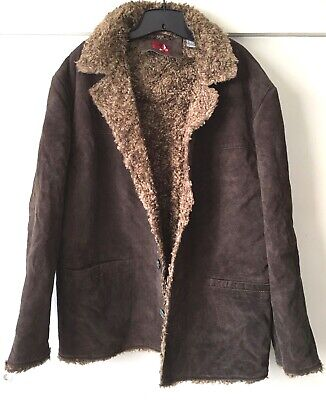 Used, Mens Leather Shearling Jacket Coat Sz L for sale  Shipping to India