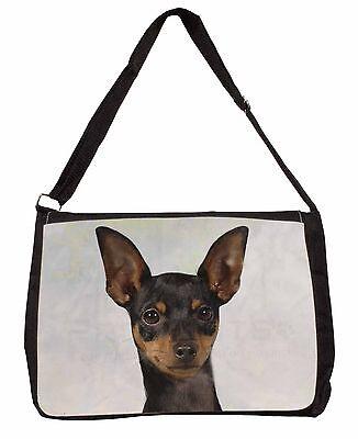 English Toy Terrier Dog Large Black Laptop Shoulder Bag Christmas Gift, AD-ET1SB