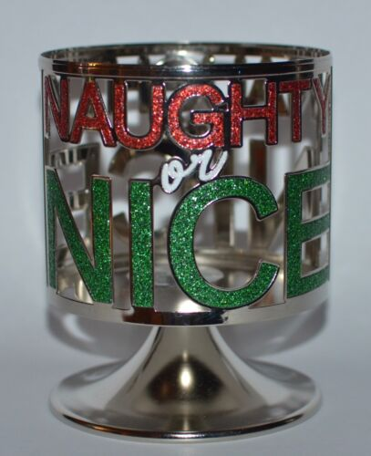 BATH BODY WORKS NAUGHTY OR NICE PEDESTAL LARGE 3 WICK CANDLE HOLDER SLEEVE 14.5