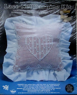 Valiant Lace Heart Net Darning Kit  Design Pillow w/ Instructions 15