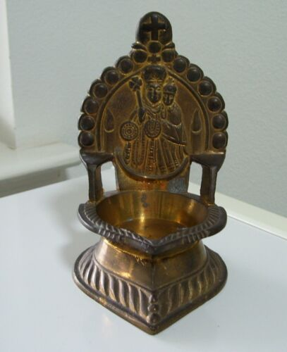 Vintage TK Brass Religious Christian Catholic HOLY WATER Table FONT