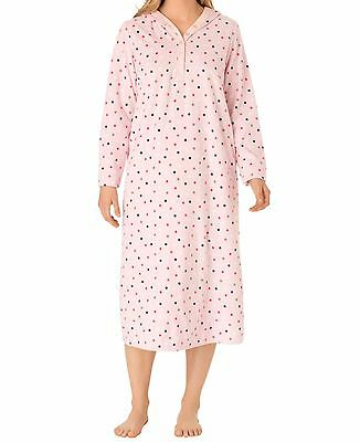 Plus Size Pink Multi Dot Micro Fleece Hooded Lounger Size 3X(30W/32W)