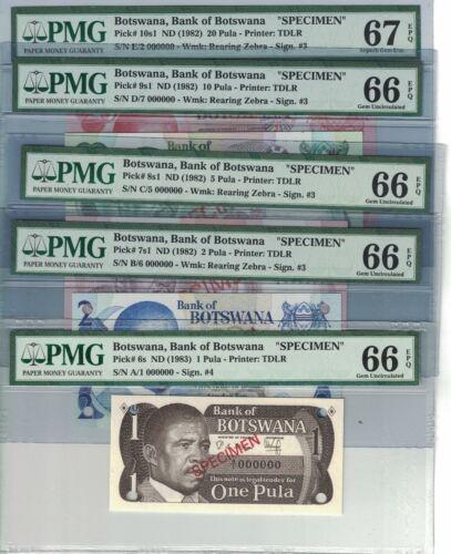 BOTSWANA Specimem Set of 5 Banknotes 1,2,5,10,20 Pula 1982-83 GEM UNC. (#1723)