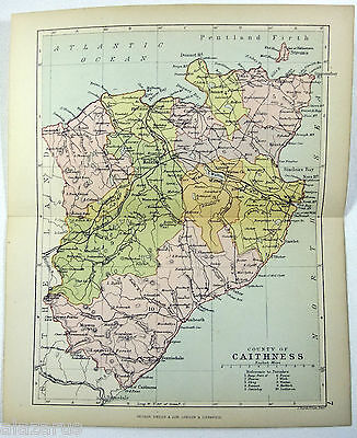 Philips 1882 Map of The County of Caithness Scotland by J. Bartholomew
