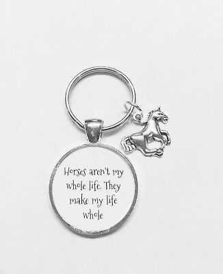 Horses Keychain Make My Life Whole Horse Lover Cowgirl Rodeo Gift Keychain - Live Animal Keychain