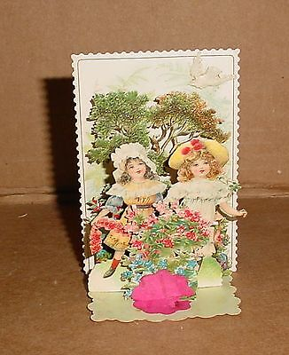 Antique Die Cut Best Wishes  3-D Pop Up