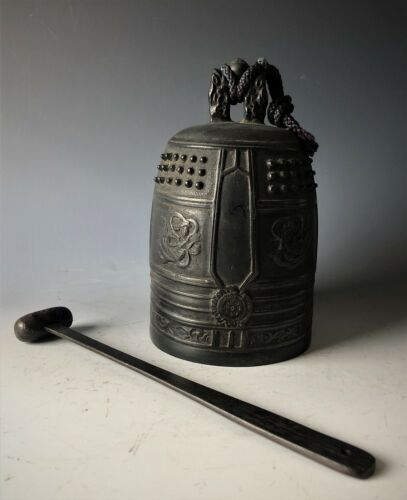 """Japanese vintage metal gong Buddhist instrument temple bell w/wood stick H.6.7"""""""