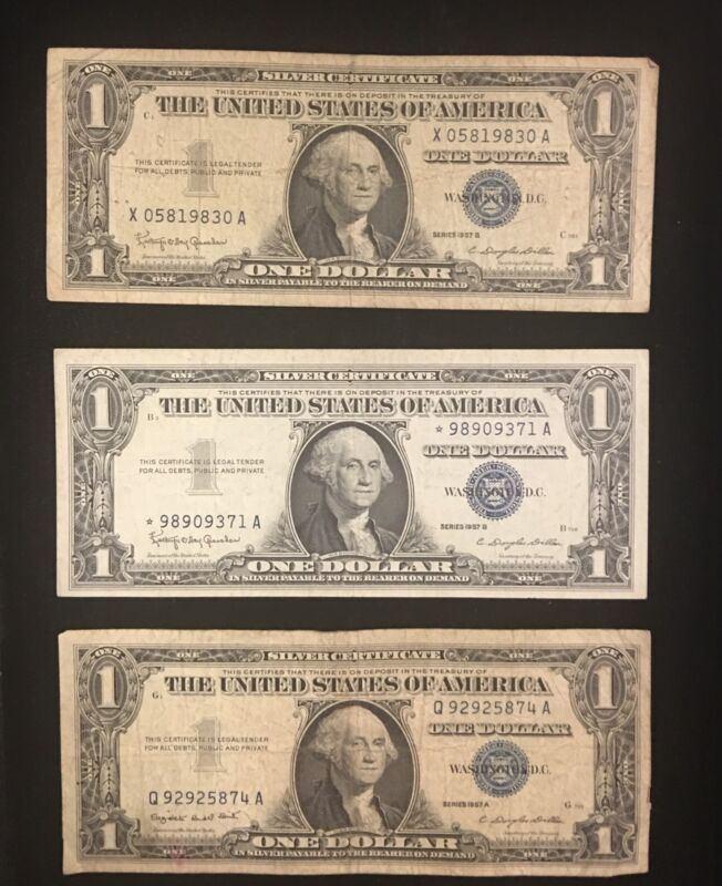 1957 $1.00 Silver Certificate Blue Seal / STAR Note Collection (3) Notes