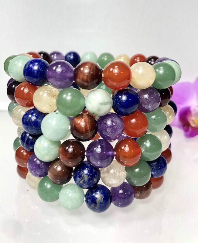 "Wholesale Lot 6 Pcs Chakra 10mm 8"" Crystal Healing Stretch Bracelet"