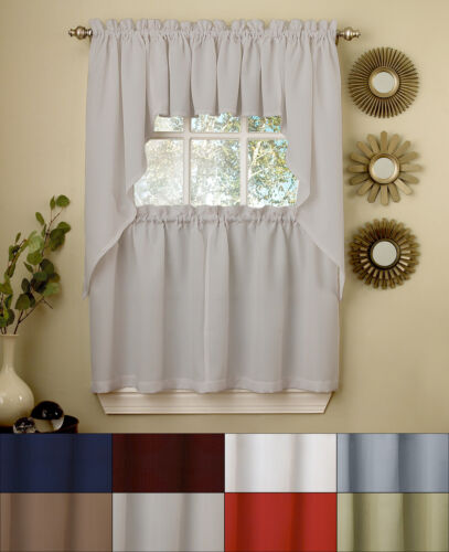 Ribcord Kitchen Curtains Solid Opaque 24″ Tier, Valance & Swag Set Curtains & Drapes