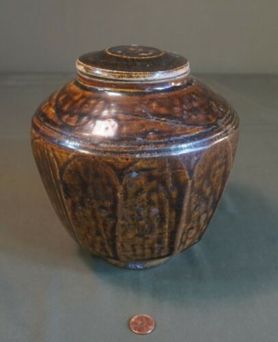 Very Fine Korean Joseon Dynasty Brown Glazed 11 Sided Jar with a Lid