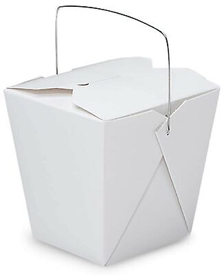Made In Usa 50-count White 26 Oz Chinese Take Out Boxes With Handles Leak An...