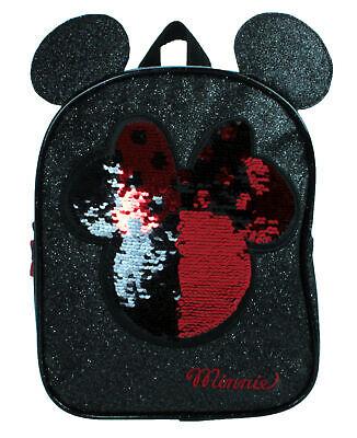 Disney Minnie Maus Glitzer Pailletten Sparkle Schwarz Kinder Rucksack mit Ohren