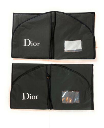 "Lot (2) Christian Dior Black Travel Storage Garment Zip Bags 54"" and 38"" x 24"""