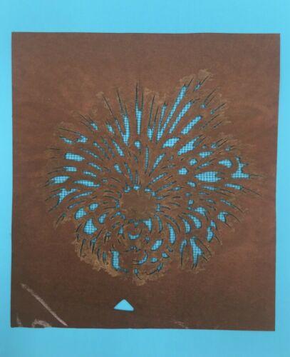 Pair (2) Antique Japanese katagami 型紙 paper 菊 chrysanthemum stencils SHIPS FREE