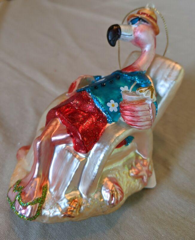 Christmas Ornament Flamingo In Adirondock Chair
