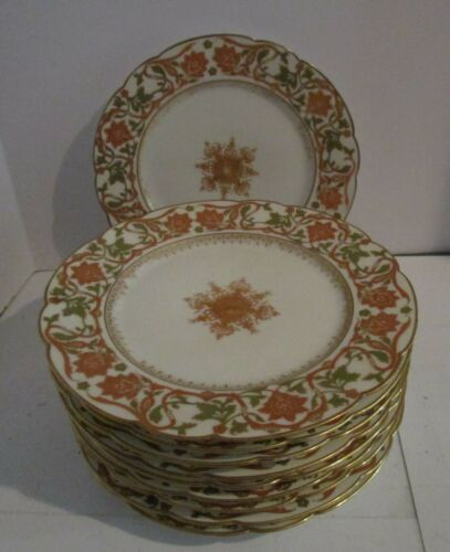 "10 Charles Ahrenfeldt LIMOGES 9.5"" Luncheon?  Plates - Peach & Green w/Gold Trim"