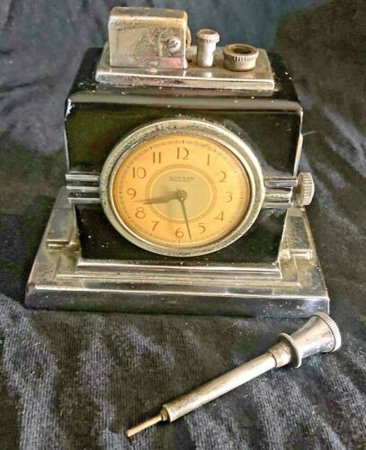 RARE (Large Face/Figure 190) ART DECO RONSON CLOCK TOUCH TIP LIGHTER  - AWESOME!