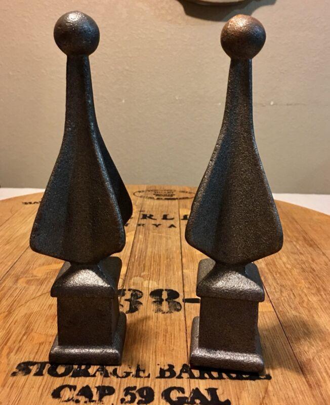 """Vintage  Pair Unique Cast Iron Finials - Distinctive - 8"""""""