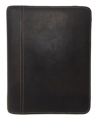 Franklin Covey Full Grain Leather Brown Organizer Planner Zippered 34670 Classic
