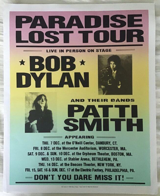 """BOB DYLAN PATTI SMITH """"PARADISE LOST TOUR"""" DEC 1995 ORIG UNIQUE CONCERT POSTER"""