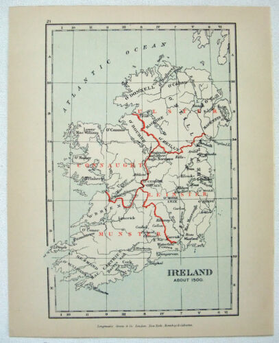 Vintage Map of Ireland about 1500 by Longmans Green 1907