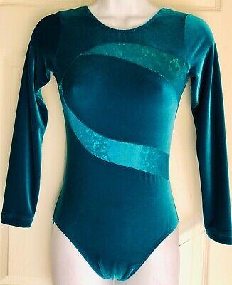 NWT GK Elite Gymnastics Dance Leotard Forest Green Velvet Adult Large AL