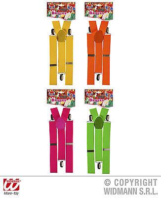 Neonfarbene Kostüme (Hosenträger neonfarben neon Kostüm Fasching Karneval Damen Herren One Size NEU)