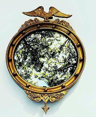 c.1825 Eagle Mirror Antique Round Wall Mirror Convex Bullseye Federal Home Decor