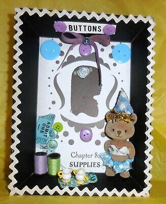 BeBe Ballet Bear Buttons Spool Thread Sewing Collage Art OOAK