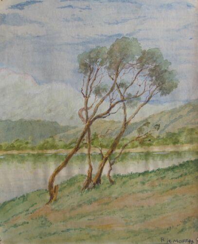 RONALD+H.+MOFFAT+AUSTRALIAN+WC+%22WINDSWEPT+TREES+BY+A+LAKE%22+C+1940