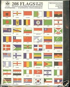 208-Flags-of-the-World-Gummed-Stamp-Seals-1-79-NEW