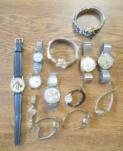 Vint Mixed Group 13 Wrist Watches Mens Womens Spiderman Benrus Elgin Caravelle