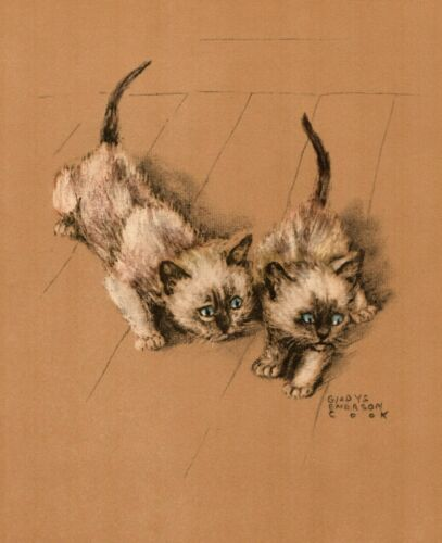 1941 Antique Cat Print Siamese Kitten Art Print Gladys Emerson Cook Art 3552