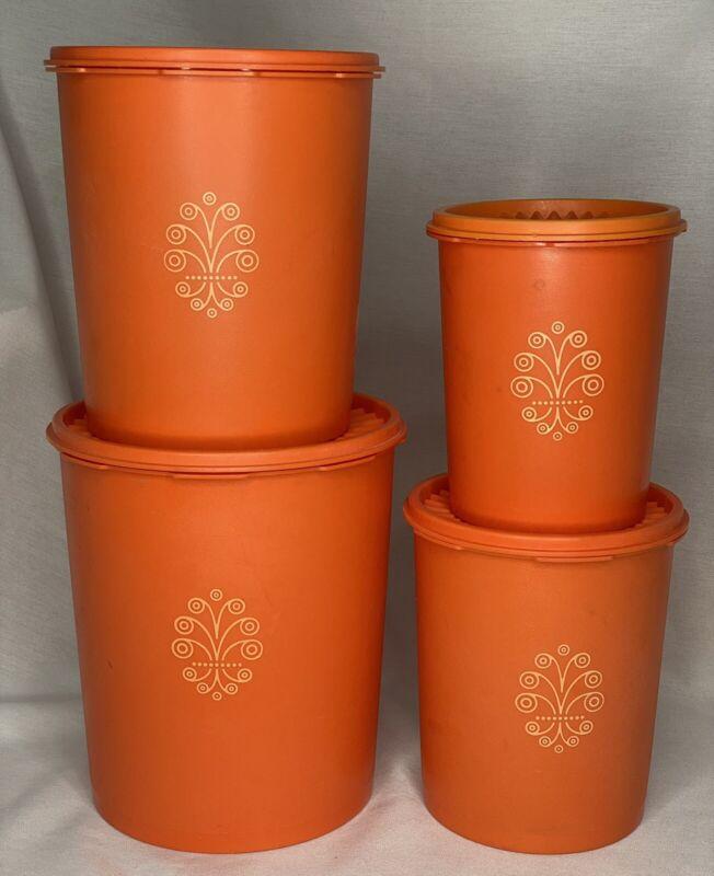 Vtg Tupperware Canister Set of 4 Nesting With Lids Harvest Orange