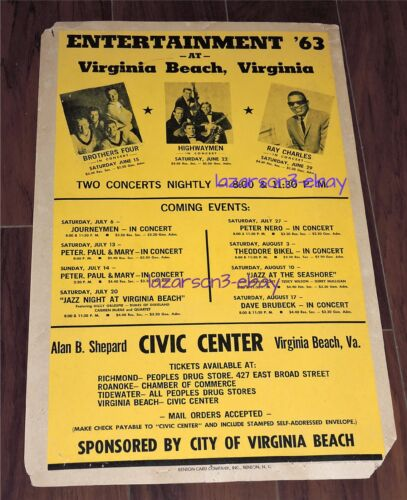 RAY CHARLES  ORIG 1963 VIRGINIA BEACH CONCERT POSTER THE HIGHWAYMEN DAVE BRUBECK