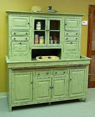 JUMBO Pine Hoosier Cabinet, USA made Reproduction, Heavily distressed finish