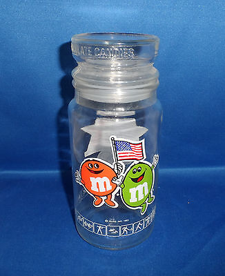 "Glass Candy Jar 1984 Mars M&M Glass  Los Angeles Olympic Games - 7 3/4"" - Sealed"
