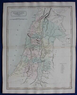 ANCIENT PALESTINE, HOLY LAND, TRIBES OF ISRAEL original antique map, Butler 1851