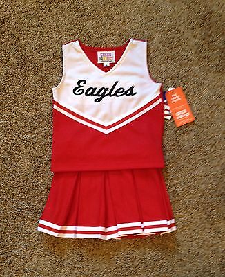 7 Red & White Eagles Monogram Cheerleader Dress Up uniform Halloween Costume NWT](Eagles Cheerleader Halloween Costume)