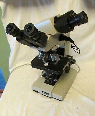 Nikon Labophot Dual Head Binocular Microscope Illuminated W 4 Objectives