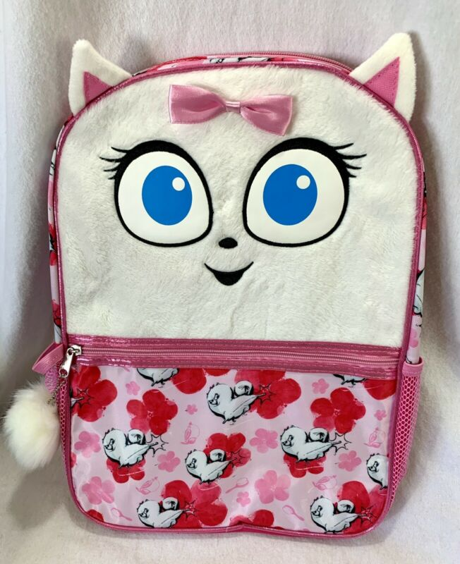 NEW Gidget Secret Life of Pets 2 - Fluffy Pink Backpack with Ears and Bow