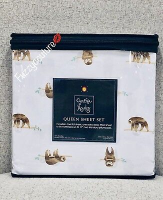 🌸Cynthia Rowley QUEEN Extra Deep Fitted Sheet Set 4 Pc - SLOTH PRINT