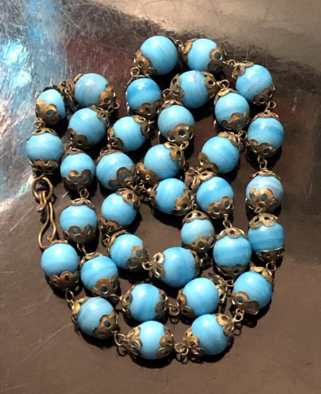 "Vintage Antique Victorian Blue Turquoise Glass Beads Beaded 20"" Necklace Unique"