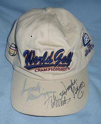Terrell Davis & Smokey Gaines 2x Signed World Golf Championship Hat PSA/DNA COA