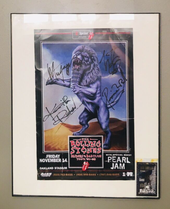 rolling stones Signed BRIDGES BABYLON concert poster FRAMED w/PASS and COA
