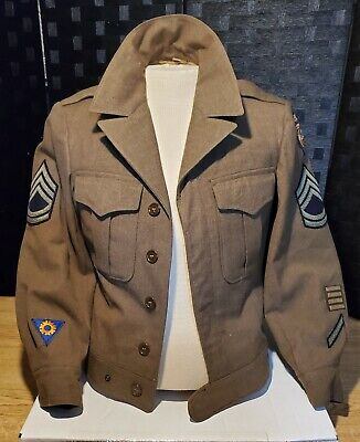 WW2 US Army Tech Sergeant Airborne Troop Carrier Ike Jacket Uniform Sz 36R Dated