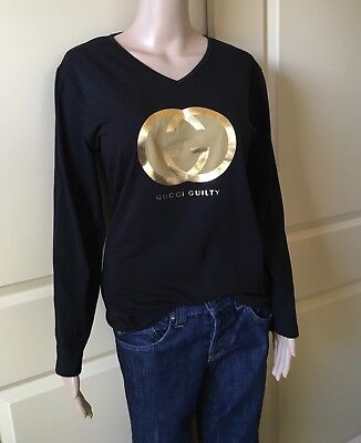 ❤️ NEW Gucci Guilty Fragrance Promotional Black Gold Logo T-Shirt Large